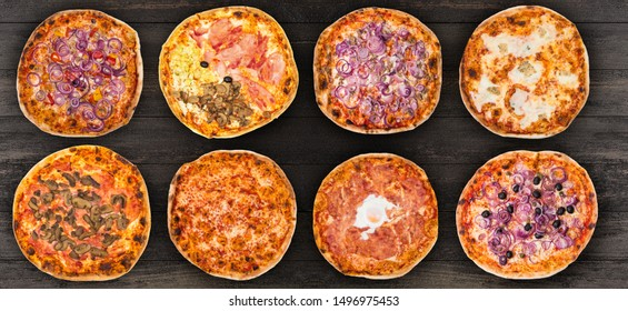 Eight different pizza set for menu or banner. Onion Pepperoni, Four Season, tuna and onion, four cheese, pizza with mushroom, margherita, egg and olive onions. Concept Pizza delivery service to home