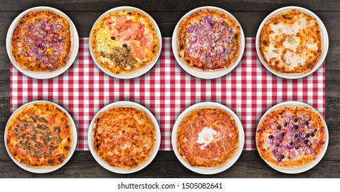 Eight different pizza set for menu or banner. Onion Pepperoni, Four Season, tuna and onion, four cheese, pizza with mushroom, margherita, egg and olive onions.