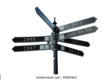 Eight direction pointer with years as directions