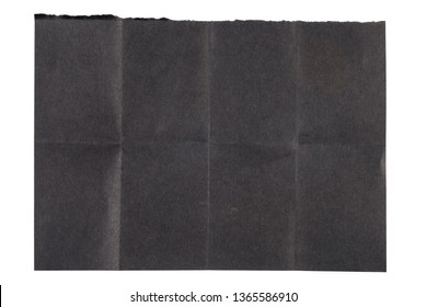 Eight Folds black paper with one ripped side isolated on white background