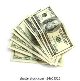 Eight hundred dollar bills on white