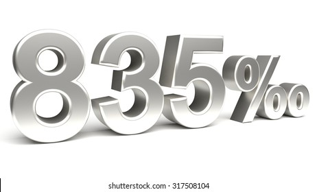 Eight hundred and thirty five per mill 3D text, with big silver fonts isolated on white background. Rendered illustration.