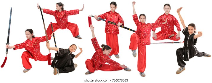 Eight kung fu girls pose with sword exercise isolated on white, collage