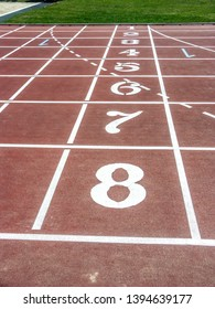 Eight lane running track with starting numbers