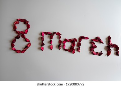 Eight march international women's day concept from rose petals. Special day concept, valentine's day, mothers day concept.