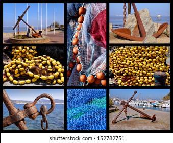 Eight mosaic photos marin anchors and fishing nets