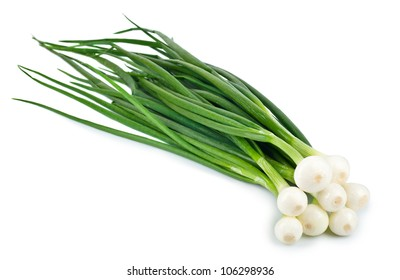 Eight ripe beautiful spring onions isolated on a white background