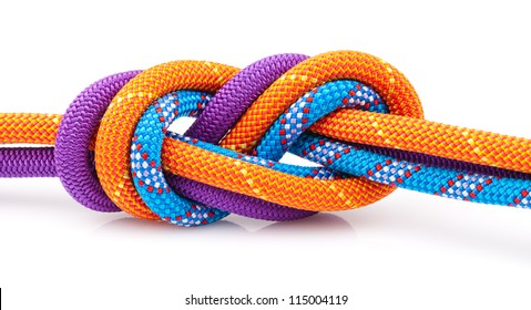 eight rope knot isolated on white
