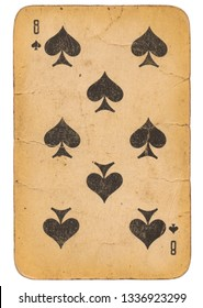 Eight of Spades old grunge soviet style playing card isolated on white