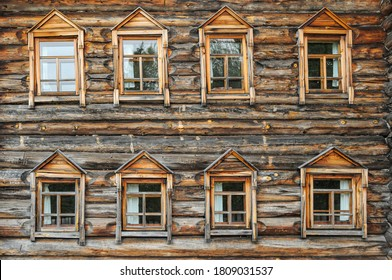 Eight vintage wooden windows in russian national style