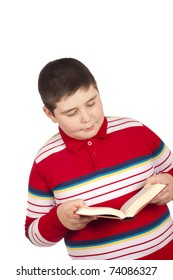 Eight year old boy reading isolated over white background