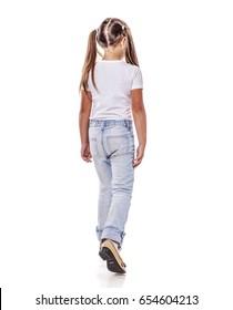 Eight years girl walking away girl isolated on white