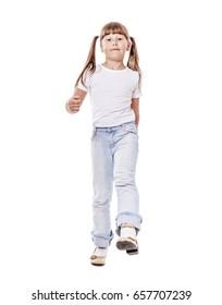 Eight years girl walking forward girl isolated on white
