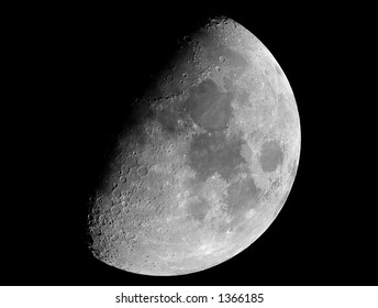 An eight-day-old Moon, photographed on 2004-11-20 in its gibbous phase, photographed through a 0.2-metre telescope