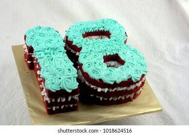 Eighteen shaped cake