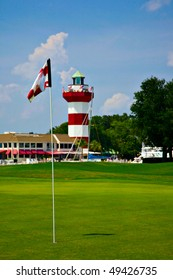 Eighteenth hole at the Harbor Town golf course