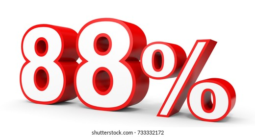 Eighty eight percent off. Discount 88 %. 3D illustration on white background.