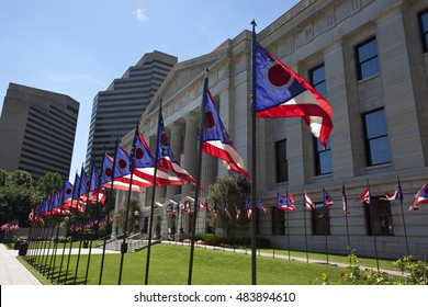 Eighty eight state of Ohio flags fly on the east lawn of the Ohio Statehouse in Columbus.  The flags represent the counties of Ohio.
