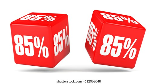 Eighty five percent off. Discount 85 %. 3D illustration on white background. Red cubes.
