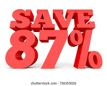 Eighty seven percent off. Discount 87 %. 3D illustration on white background.