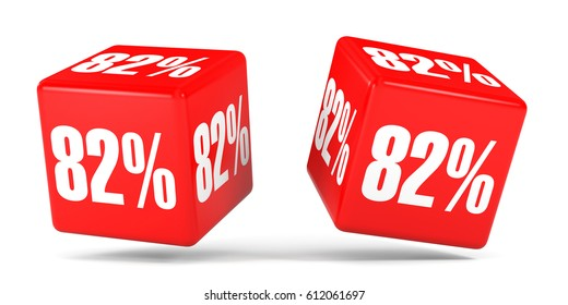 Eighty two percent off. Discount 82 %. 3D illustration on white background. Red cubes.
