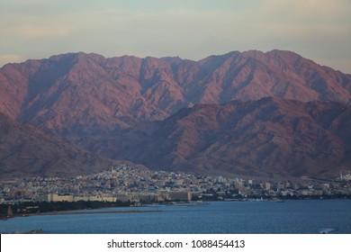 Eilat. Border of Israel and Jordan.