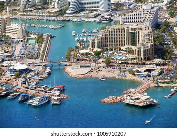 Eilat City, Israel - Aerial View.   Eilat is Israel's southernmost city. The city's beaches, coral reef, and nightlife make it a popular destination for domestic and international tourism.