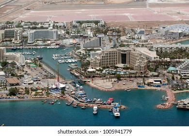 Eilat, Israel - 5.21.2014 - Aerial View Of Eilat's Marina / Port and hotels, during noon time.