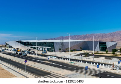 EILAT, ISRAEL - APRIL 20, 2018 : Main terminal of new Ramon International Airport under construction in Timna Valley. Eilat, Israel.