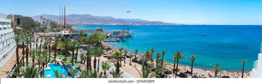 Eilat, Israel - April 23, 2018: Panoramic aerial view on Eilat - Israeli southernmost famous resort and recreational tourist city, located on the northern shores of the Red Sea