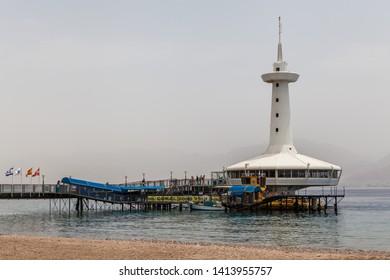 Eilat, ISRAEL - CIRCA MAY 2018: Beautiful view of the aquarium in Eilat circa May 2018 in Eilat.