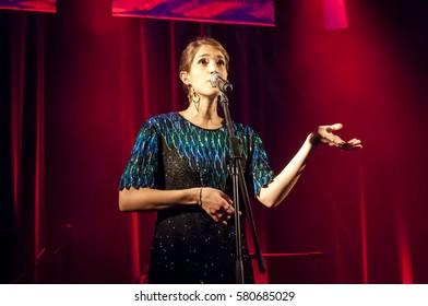 EILAT, ISRAEL. December 2016. Israeli singer Marina Maximilian Blumin performing at the Limmud educational festival. Blumin is a song writer, singer and actress.