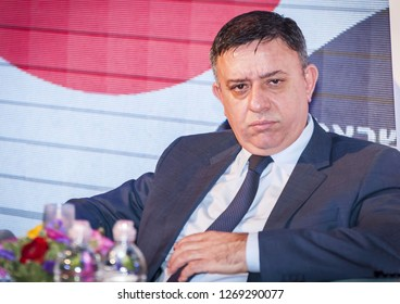 EILAT, ISRAEL. December 21, 2017. Avi Gabai (Gabbay, Gabay), an Israeli politician,  the current leader of the Israeli Labor Party, giving an interview.