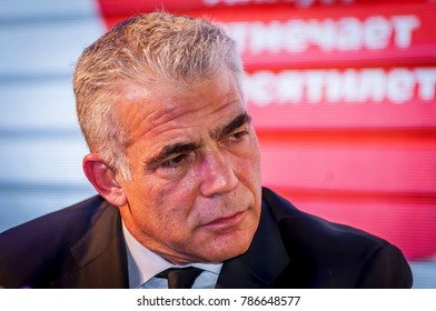"""EILAT, ISRAEL. December 21, 2017. Yair Lapid, an Israeli politician, a member of Knesset currently serving as the leader of the """"Yesh Atid"""" political party, giving an interview."""