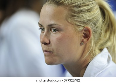 EILAT, ISRAEL - FEBRUARY 05, 2016: Professional tennis player Alona Pushkarevsky from Israeli national team during the BNP Paribas FedCup game 2016 at Eilat Tennis Center in Israel