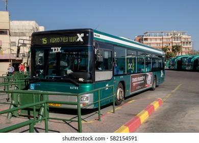 EILAT, ISRAEL - FEBRUARY 07: Central Bus Station. Bus line 15, Eilat - Taba border crossing 90. Egged logo is seen, public transportation bus company in Eilat, Eilat on February 07, 2017 in Israel.