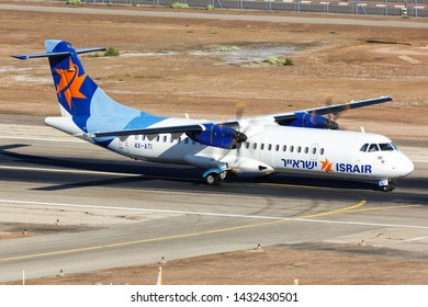 Eilat, Israel – February 20, 2019: Israir ATR 72 airplane at Eilat airport (ETH) in Israel.