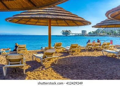 EILAT, ISRAEL - FEBRUARY 23, 2016: Winters in Eilat are very soft and comfortable for relaxing on the beach, on February 23 in Eilat.
