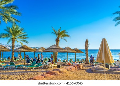 EILAT, ISRAEL - FEBRUARY 23, 2016: The best way to relax in Eilat is to visit local beach and to swim, on February 23 in Eilat.