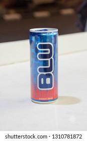 Eilat, Israel - February 7, 2019: Can of Blu energy drink.