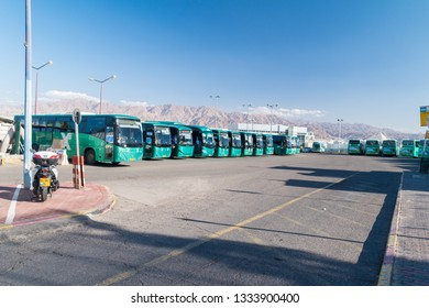 Eilat, Israel - February 9, 2019: Egged busses at Eilat Central Station.