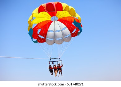 Eilat, Israel - JUNE, 23, 2017:  Sea extreme sport.  Parasailing is a popular pastime in many resorts around the world. The active form of relaxation.