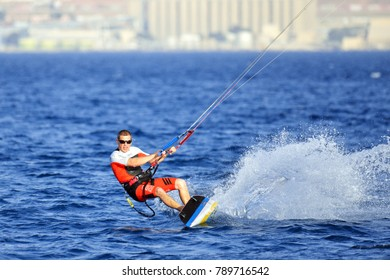 Eilat, Israel, March 10, 2016: Unknown kitesurfer in the gulf of Eilat.