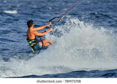 Eilat, Israel, March 11, 2016: Unknown kite-surfer in the gulf of Eilat.