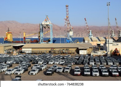 EILAT, ISRAEL - MAY 15, 2017 : cargo port and new cars for sale in Israel  Eilat, Israel on May 15, 2017 Eilat port is located on the coast of the Red Sea
