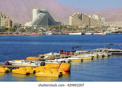 Eilat, Israel - MAY 24 : views of the luxurious hotels in popular resort - Eilat of Israel  from Gulf of Eilat on may 24, 2015 Eilat, Israel