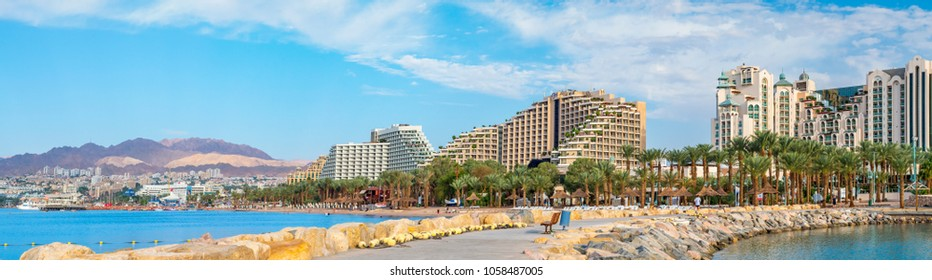 Eilat, Israel - November 06, 2012: Panoramic morning view on the modern luxury hotels and public beaches in popular resort and recreational city of Eilat.
