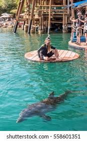 EILAT, ISRAEL - NOVEMBER 15, 2011: Beach Dolphin Reef in Eilat.