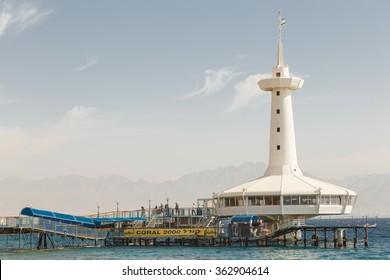 EILAT , ISRAEL - NOVEMBER 20 , 2014 : Shark Pool of Coral World Underwater Observatory Aquarium in Eilat