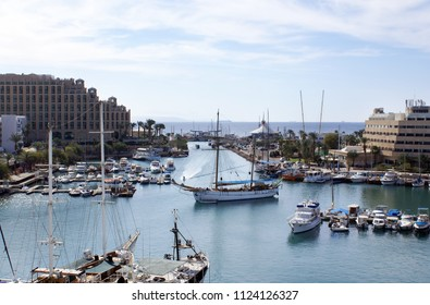 EILAT, ISRAEL - NOVEMBER 24, 2008: Top view of the marina in Eilat on the Red Sea